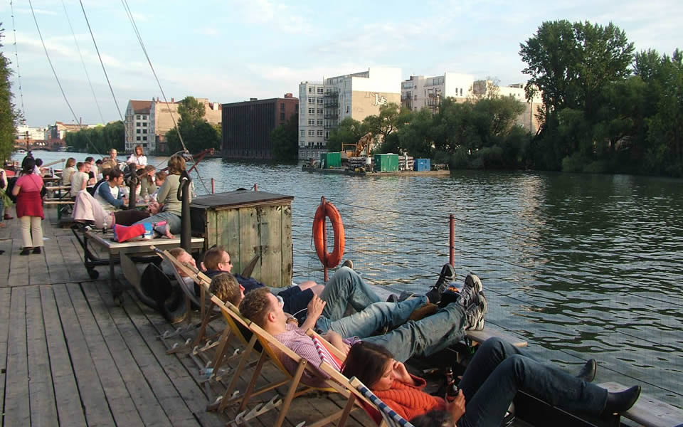 Berlin - Deckchairs on the river Spree